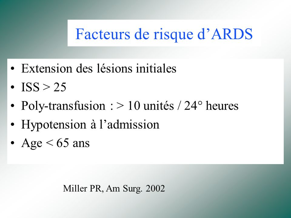 Facteurs de risque d'ARDS