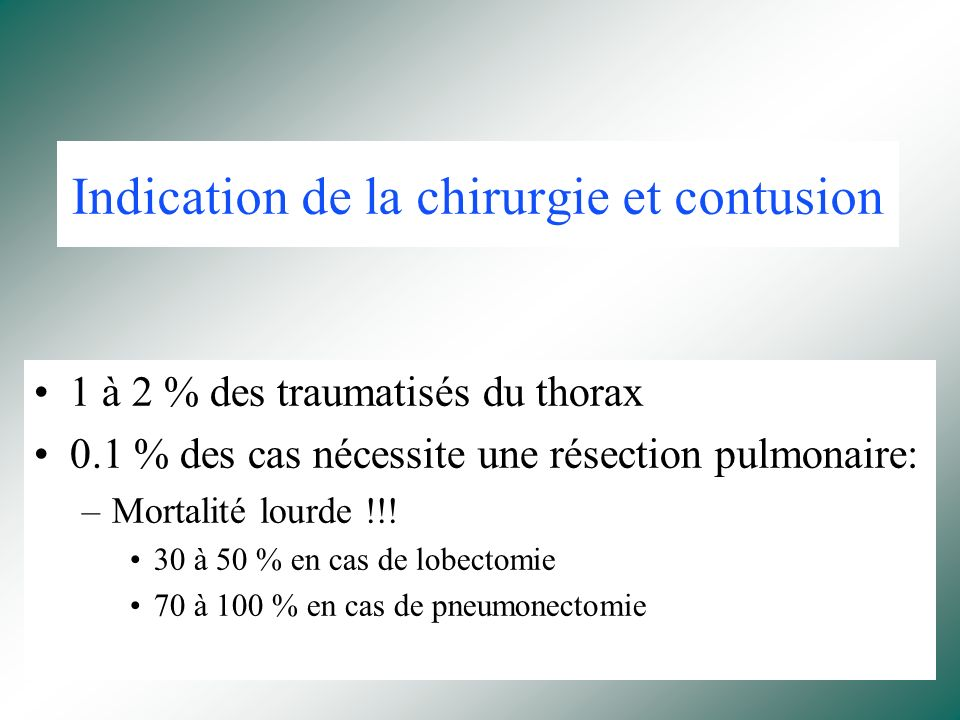 Indication de la chirurgie et contusion