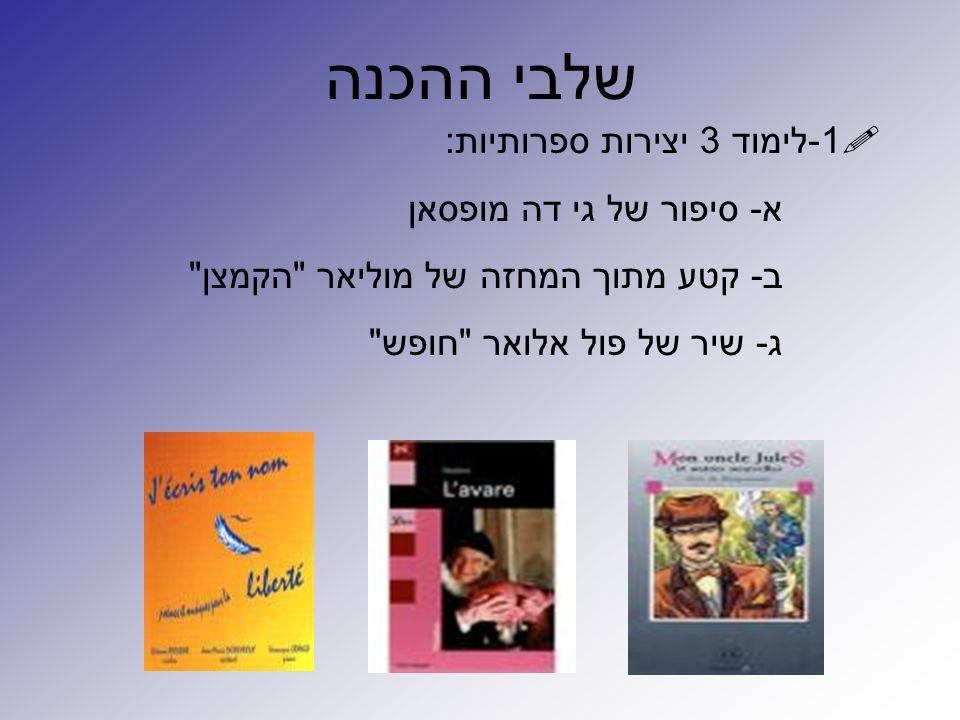 שלבי ההכנה 1-לימוד 3 יצירות ספרותיות: א- סיפור של גי דה מופסאן
