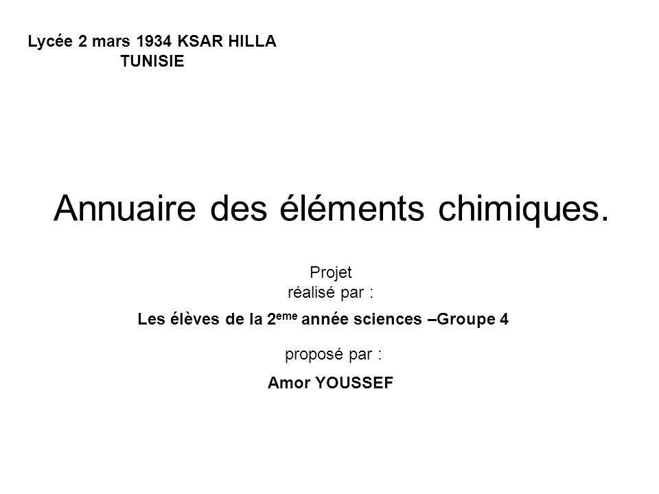 Annuaire des éléments chimiques.