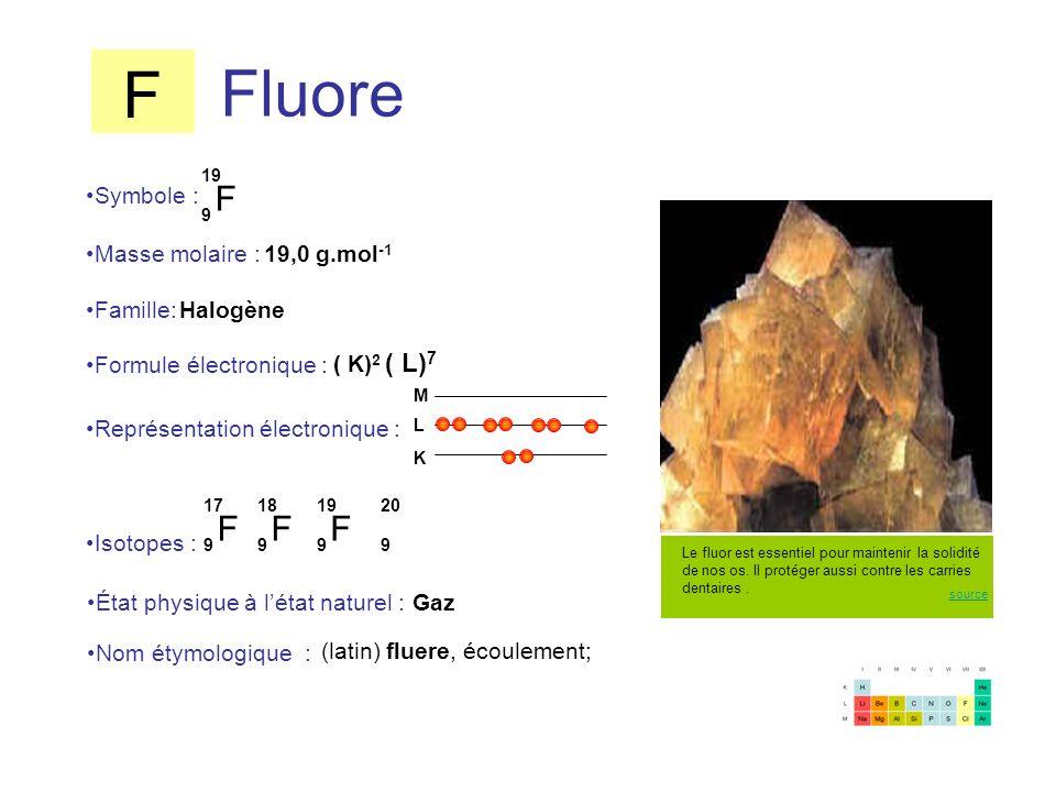 F Fluore F F F F Symbole : Masse molaire : 19,0 g.mol-1 Famille: