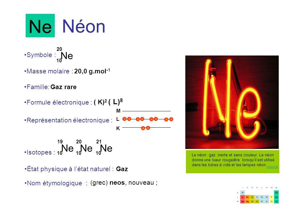 Ne Néon Ne Ne Ne Ne Symbole : Masse molaire : 20,0 g.mol-1 Famille: