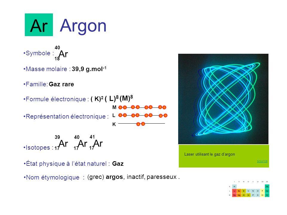 Ar Argon Ar Ar Ar Ar (M)8 Symbole : Masse molaire : 39,9 g.mol-1