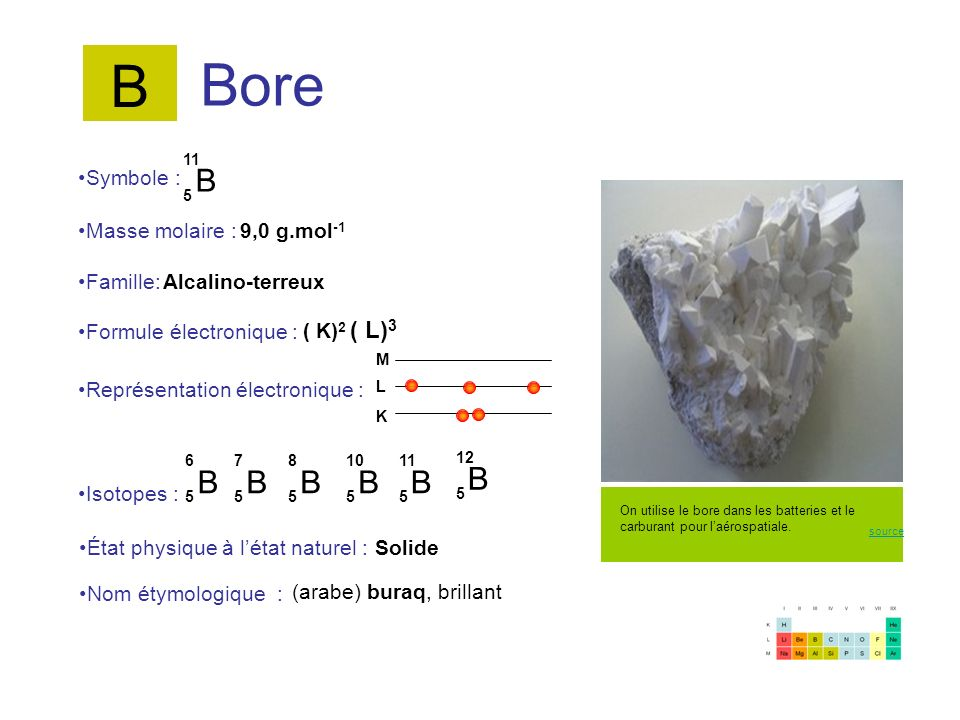 B Bore B B B B B B B Symbole : Masse molaire : 9,0 g.mol-1 Famille: