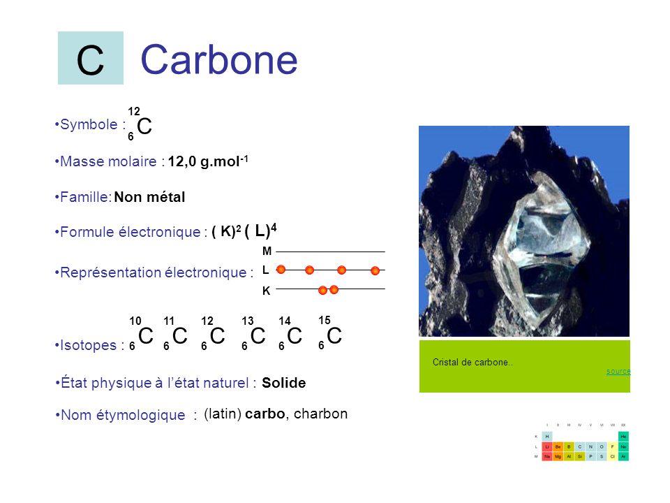 C Carbone C C C C C C C Symbole : Masse molaire : 12,0 g.mol-1