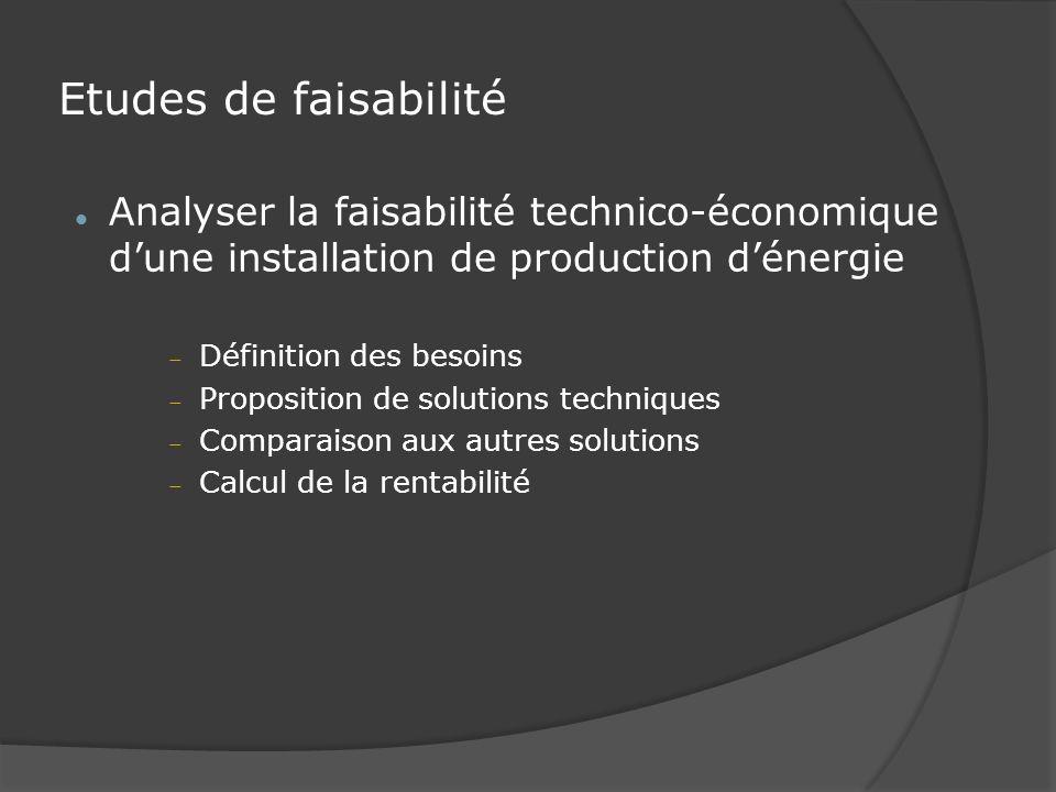 Etudes de faisabilité Analyser la faisabilité technico-économique d'une installation de production d'énergie.