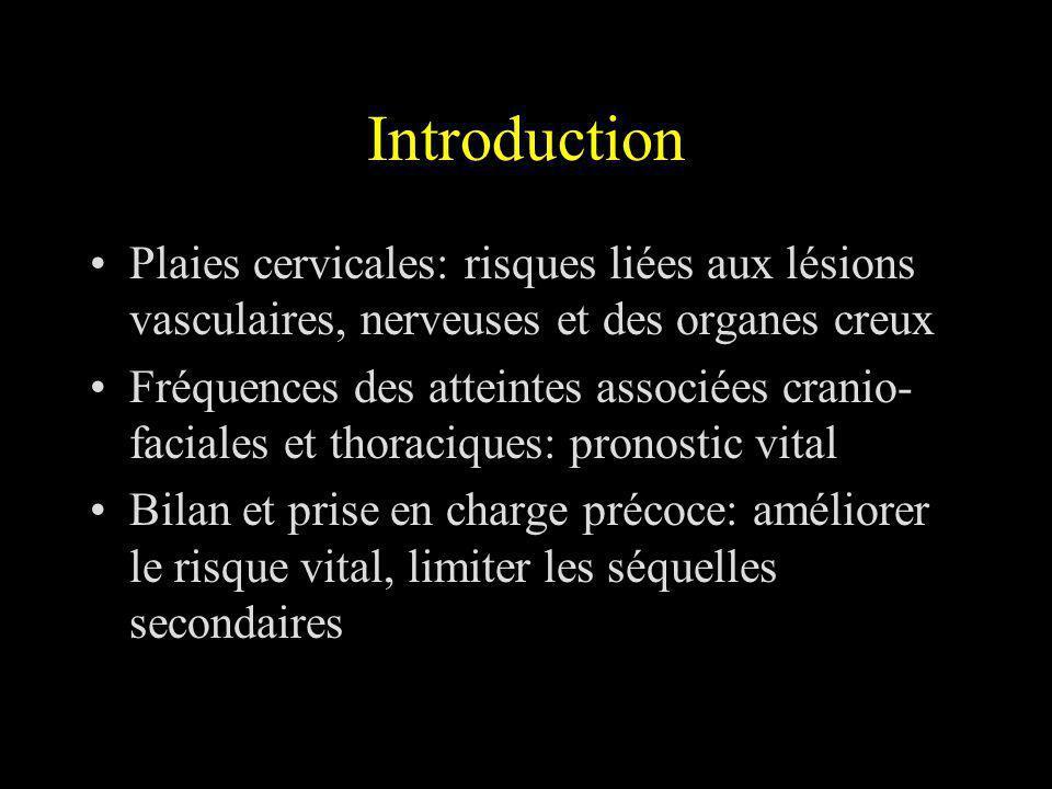 Introduction Plaies cervicales: risques liées aux lésions vasculaires, nerveuses et des organes creux.