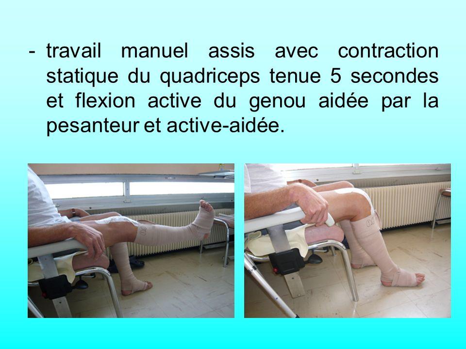 - travail manuel assis avec contraction statique du quadriceps tenue 5 secondes et flexion active du genou aidée par la pesanteur et active-aidée.