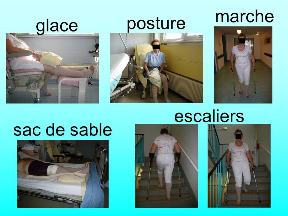 marche posture glace escaliers sac de sable