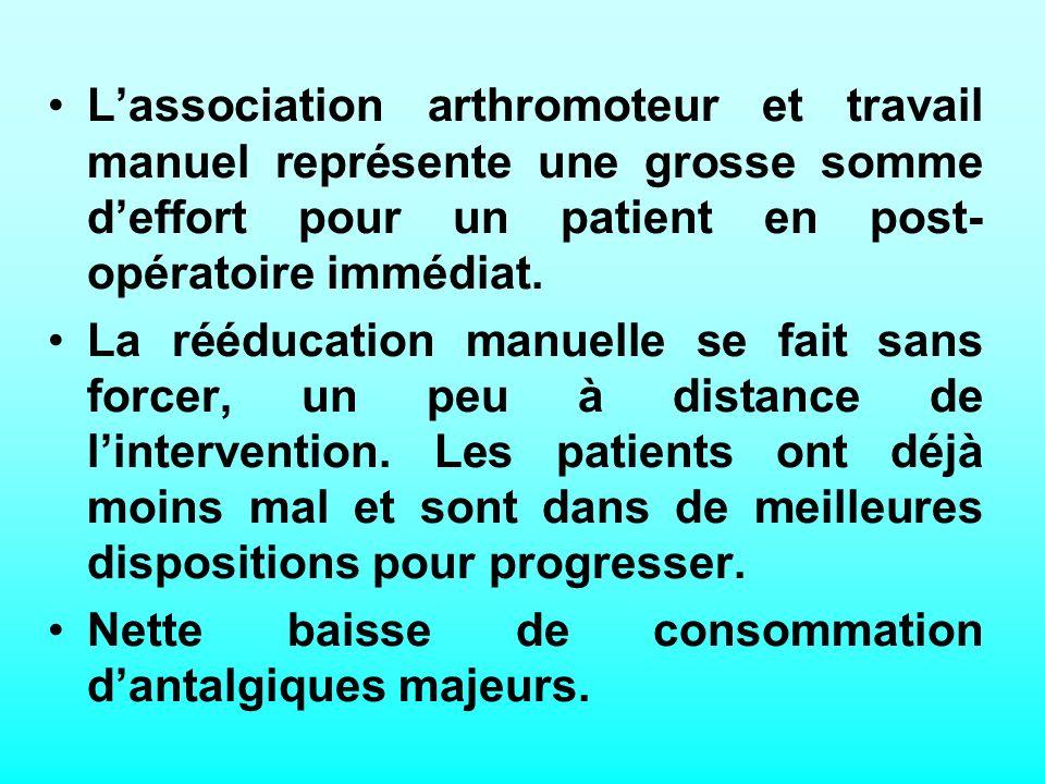 L'association arthromoteur et travail manuel représente une grosse somme d'effort pour un patient en post-opératoire immédiat.