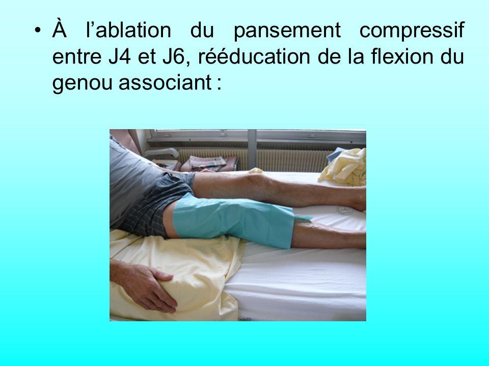 À l'ablation du pansement compressif entre J4 et J6, rééducation de la flexion du genou associant :