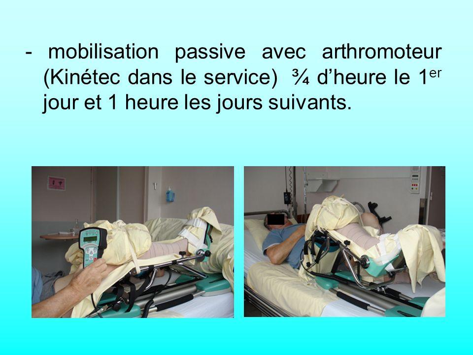 - mobilisation passive avec arthromoteur (Kinétec dans le service) ¾ d'heure le 1er jour et 1 heure les jours suivants.