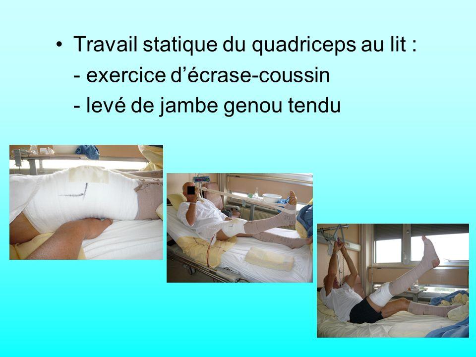 Travail statique du quadriceps au lit :