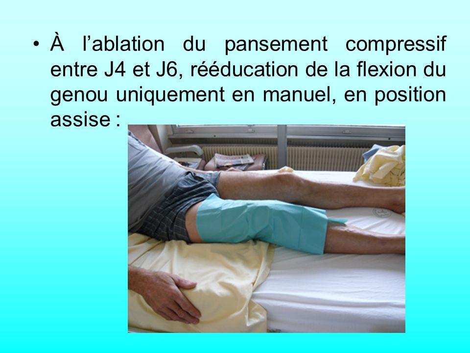 À l'ablation du pansement compressif entre J4 et J6, rééducation de la flexion du genou uniquement en manuel, en position assise :