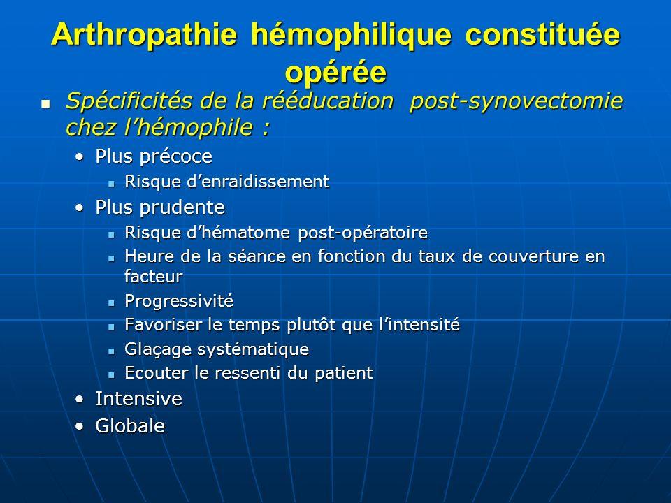 Arthropathie hémophilique constituée opérée