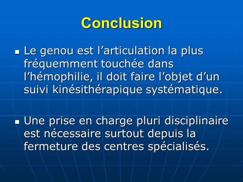 Conclusion Le genou est l'articulation la plus fréquemment touchée dans l'hémophilie, il doit faire l'objet d'un suivi kinésithérapique systématique.