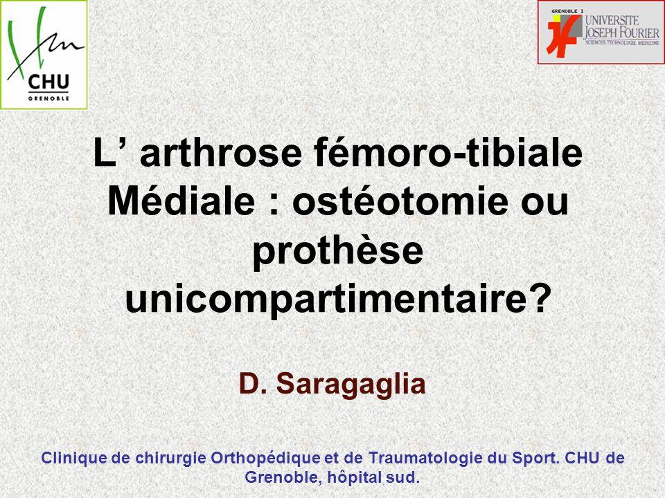 L' arthrose fémoro-tibiale Médiale : ostéotomie ou prothèse unicompartimentaire