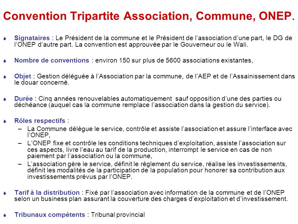 Convention Tripartite Association, Commune, ONEP.