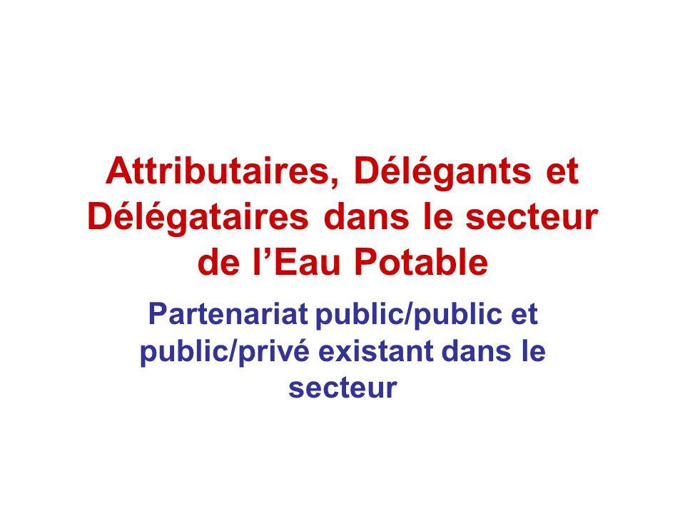 Partenariat public/public et public/privé existant dans le secteur