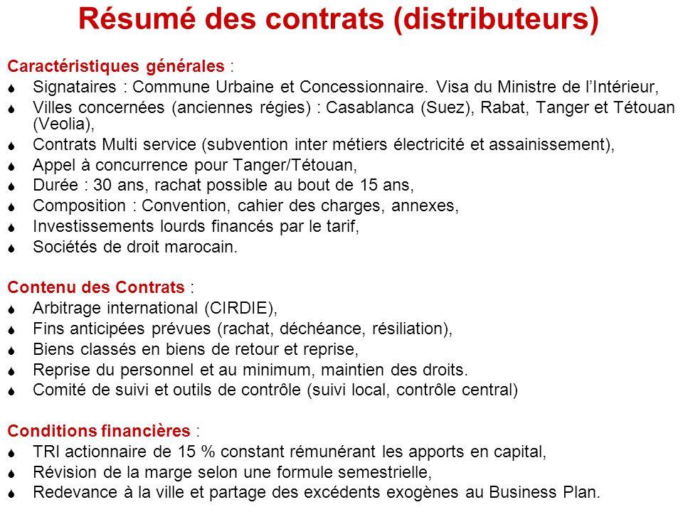 Résumé des contrats (distributeurs)