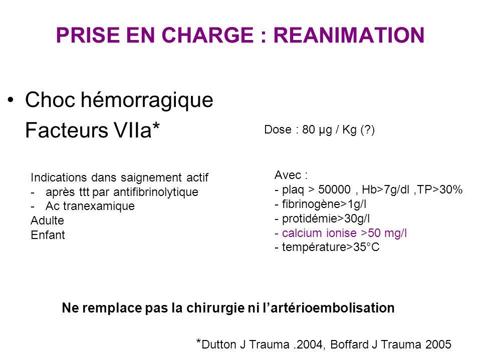 PRISE EN CHARGE : REANIMATION