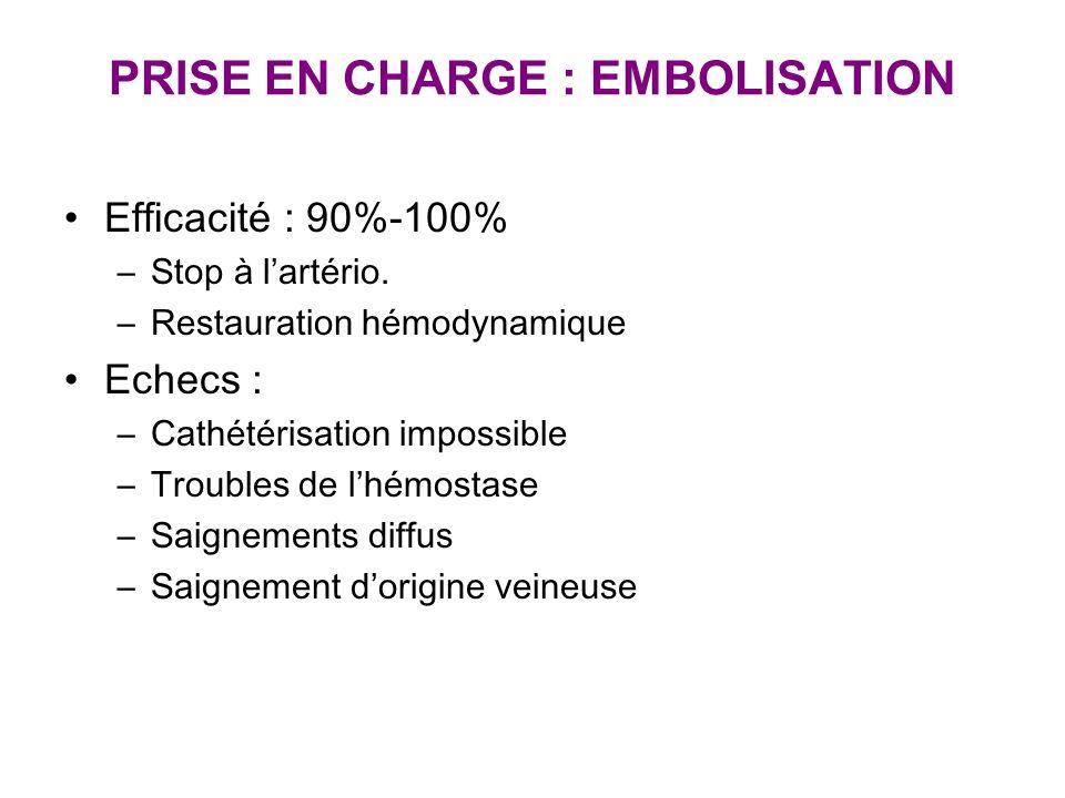 PRISE EN CHARGE : EMBOLISATION