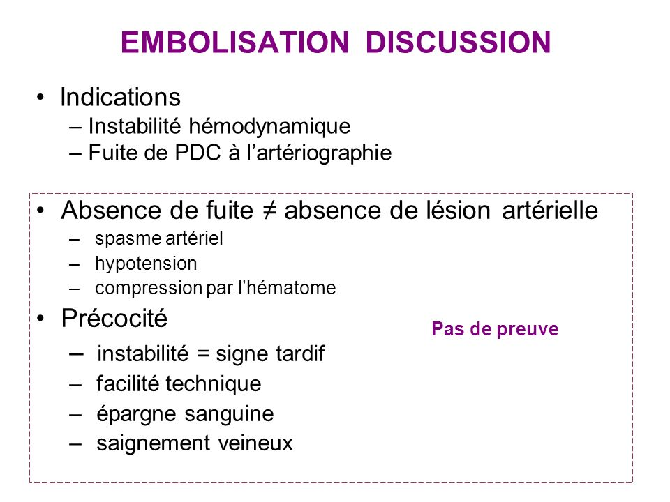 EMBOLISATION DISCUSSION