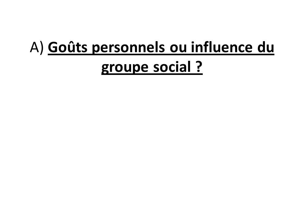 A) Goûts personnels ou influence du groupe social