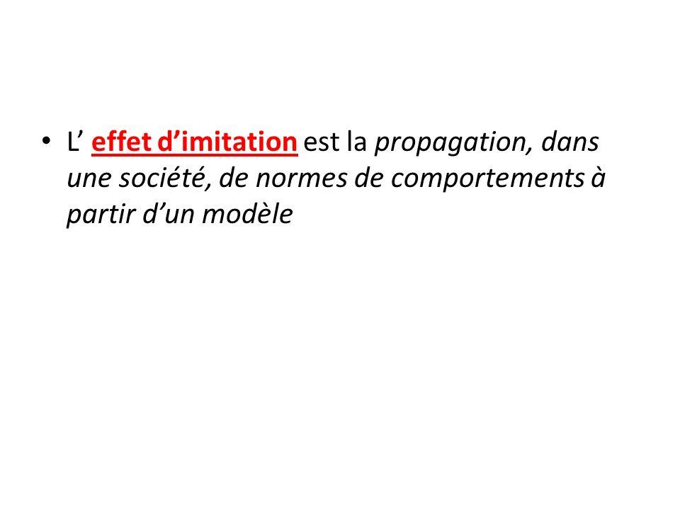 L' effet d'imitation est la propagation, dans une société, de normes de comportements à partir d'un modèle