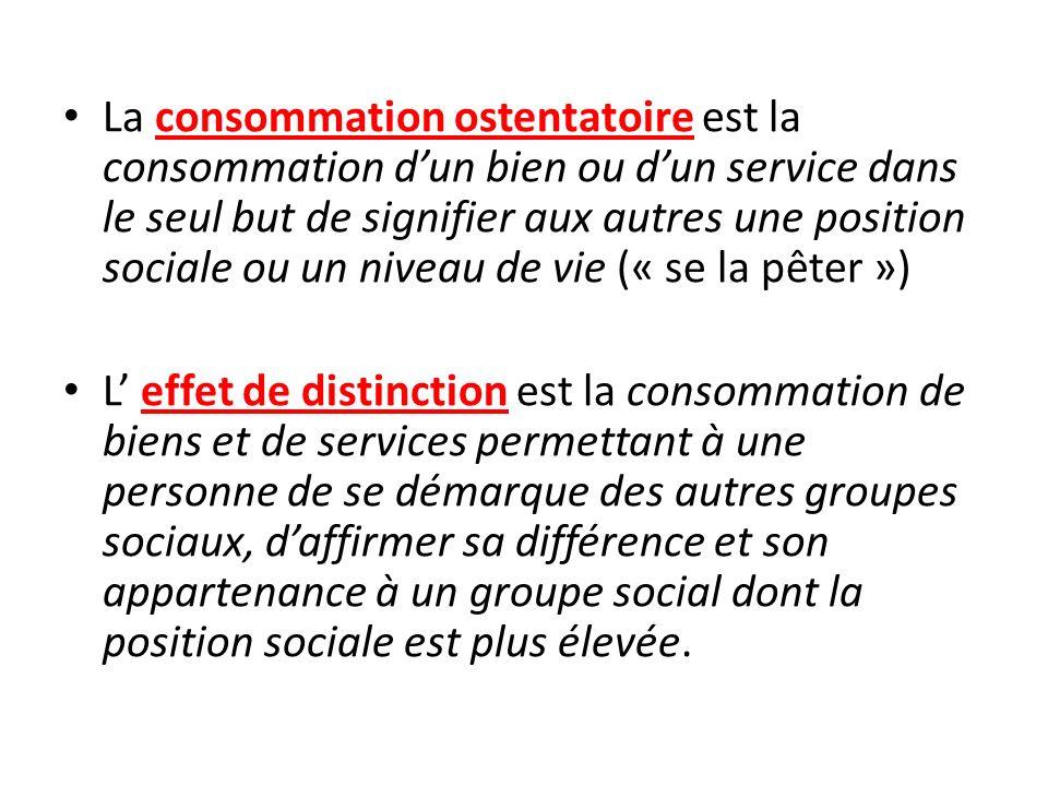 La consommation ostentatoire est la consommation d'un bien ou d'un service dans le seul but de signifier aux autres une position sociale ou un niveau de vie (« se la pêter »)