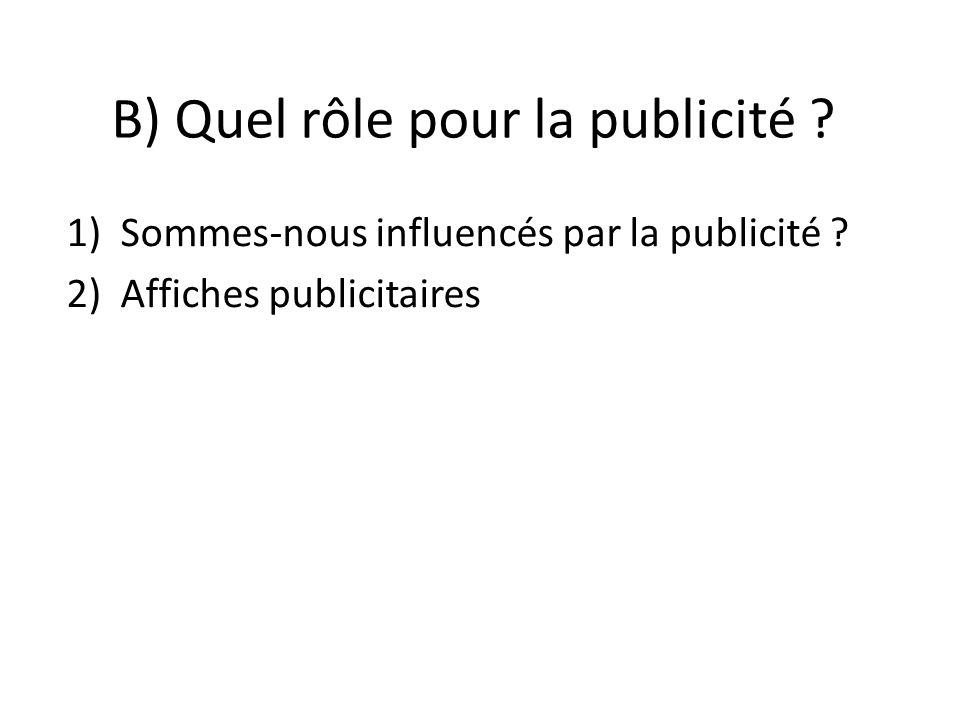 B) Quel rôle pour la publicité