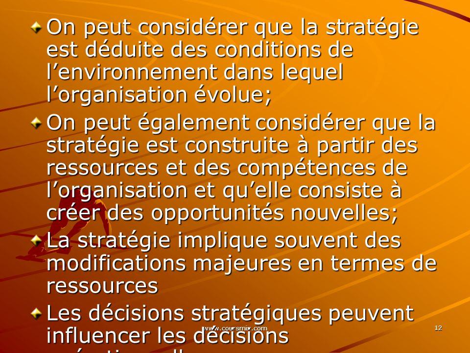 On peut considérer que la stratégie est déduite des conditions de l'environnement dans lequel l'organisation évolue;