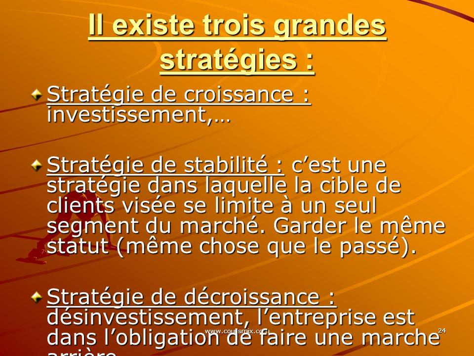 Il existe trois grandes stratégies :