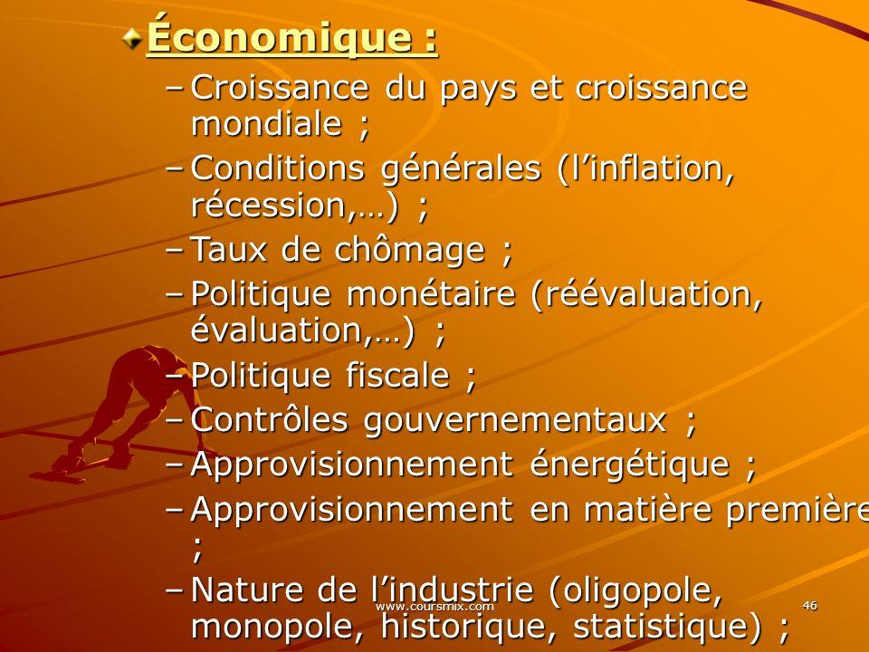 Économique : Croissance du pays et croissance mondiale ;