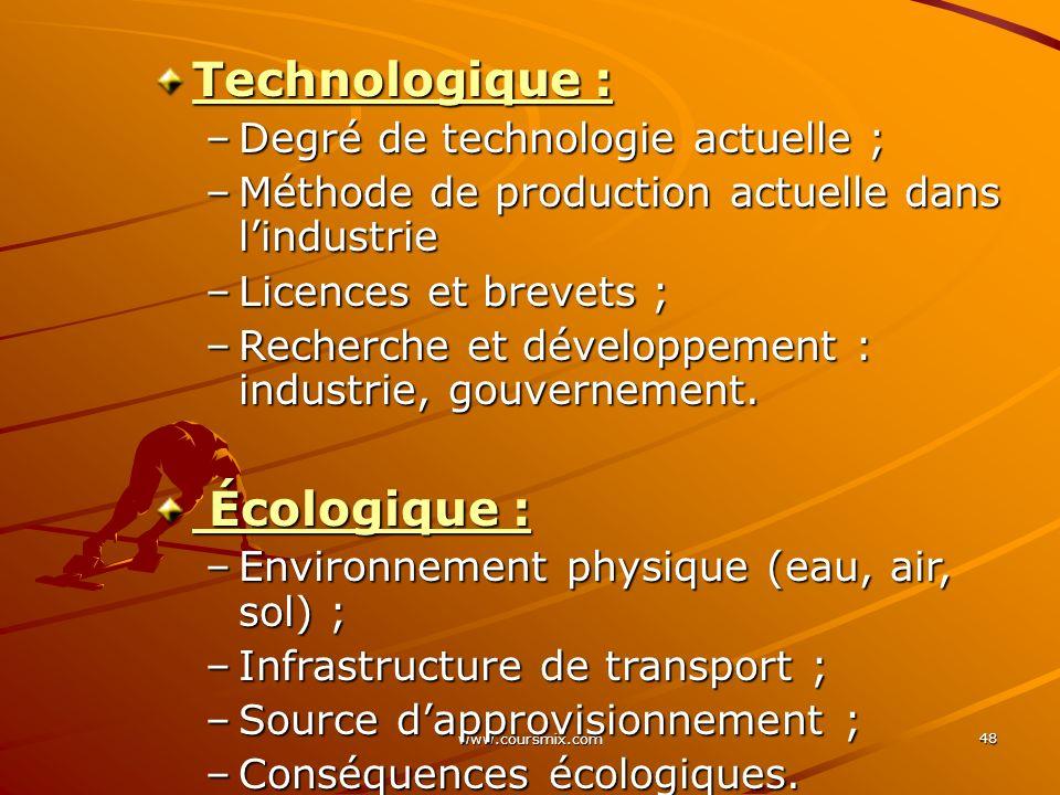Technologique : Écologique : Degré de technologie actuelle ;