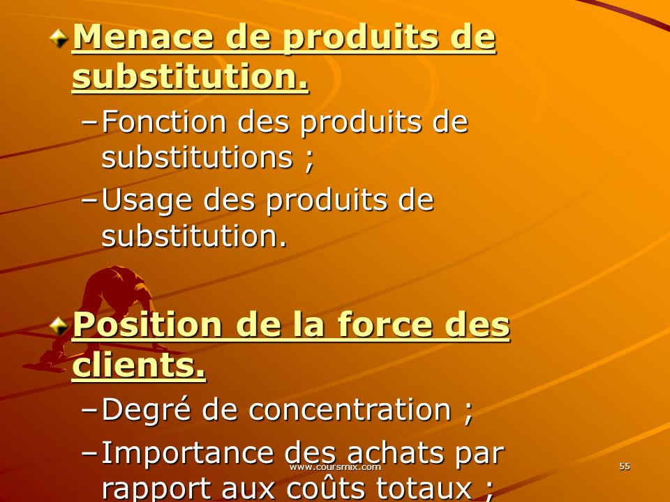 Menace de produits de substitution.