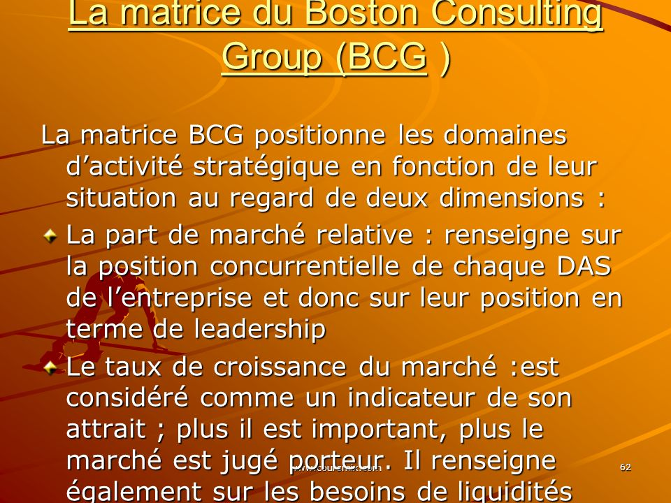 La matrice du Boston Consulting Group (BCG )