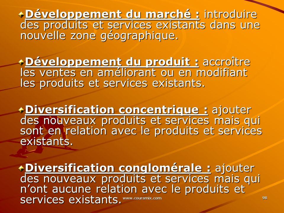 Développement du marché : introduire des produits et services existants dans une nouvelle zone géographique.