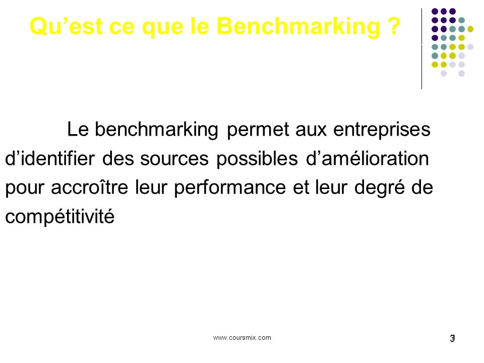 Qu'est ce que le Benchmarking