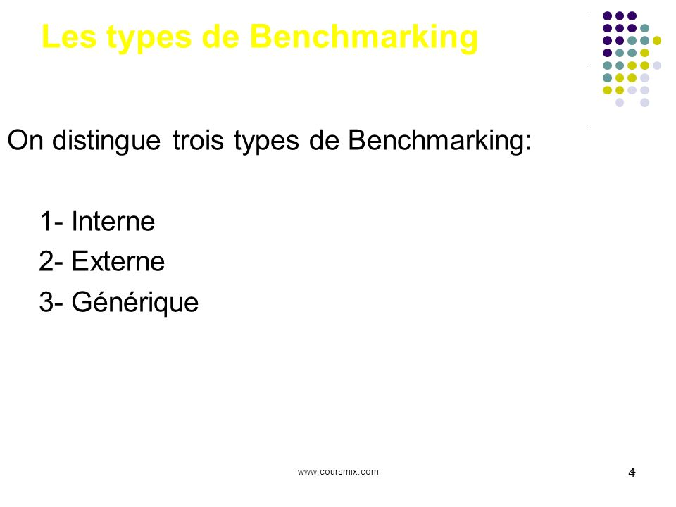Les types de Benchmarking