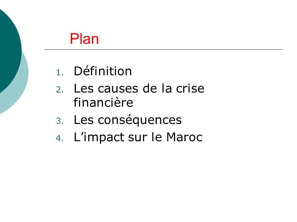 Plan Définition Les causes de la crise financière Les conséquences