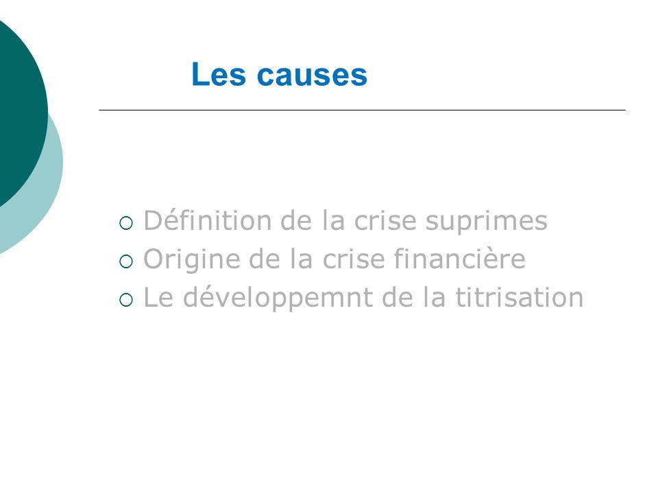Les causes Définition de la crise suprimes