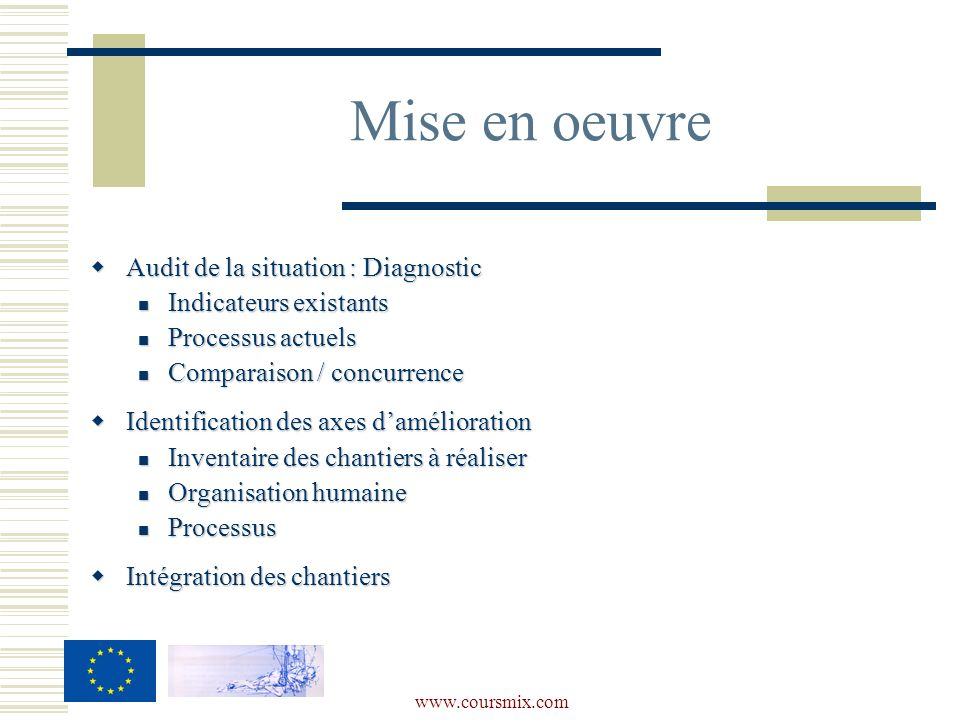 Mise en oeuvre Audit de la situation : Diagnostic