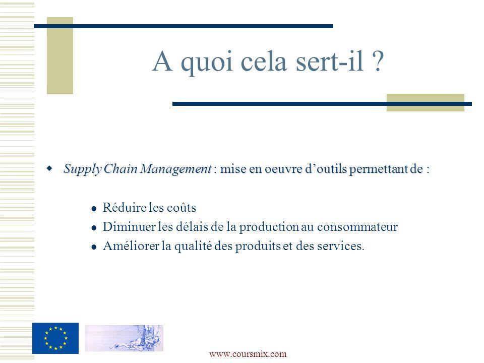 A quoi cela sert-il Supply Chain Management : mise en oeuvre d'outils permettant de : Réduire les coûts.