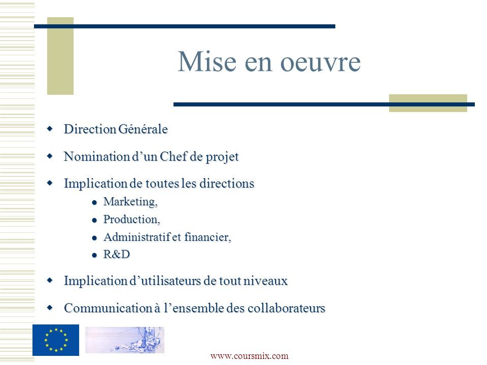 Mise en oeuvre Direction Générale Nomination d'un Chef de projet