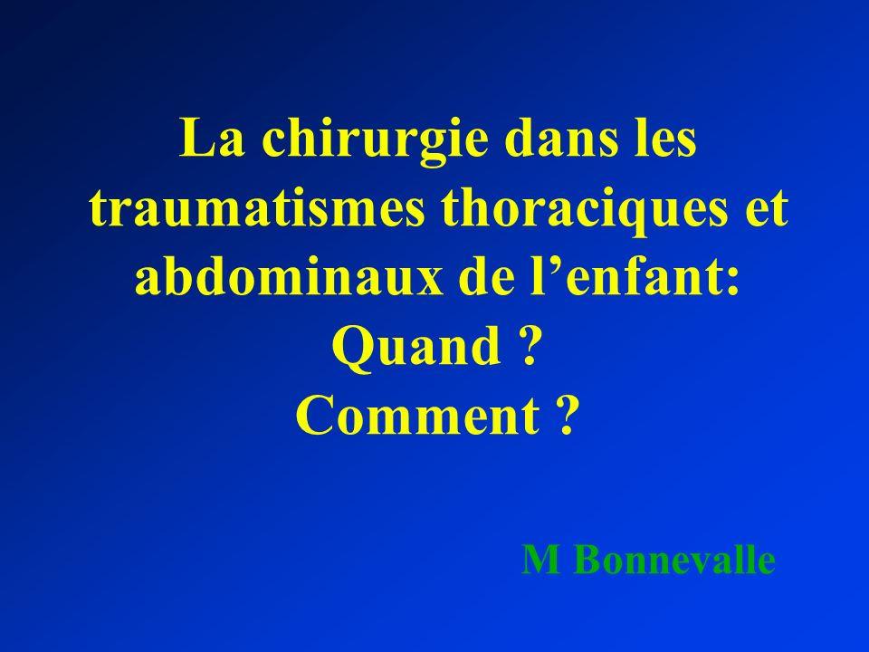 La chirurgie dans les traumatismes thoraciques et abdominaux de l'enfant: Quand .