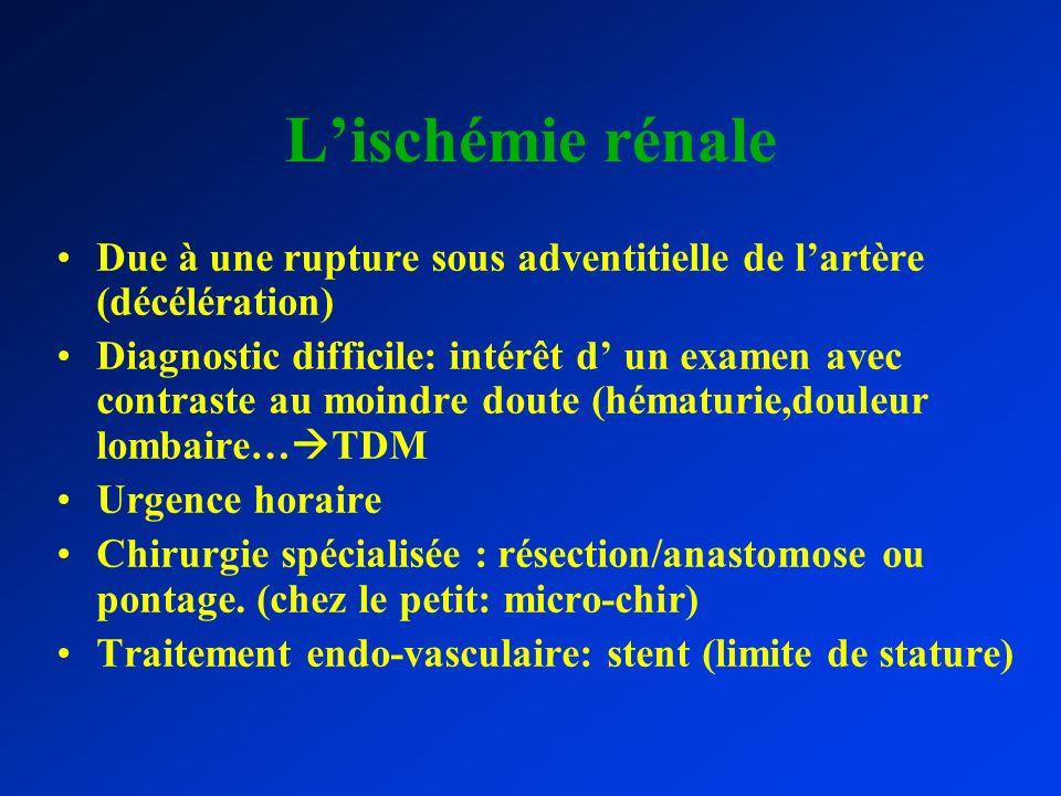 L'ischémie rénale Due à une rupture sous adventitielle de l'artère (décélération)