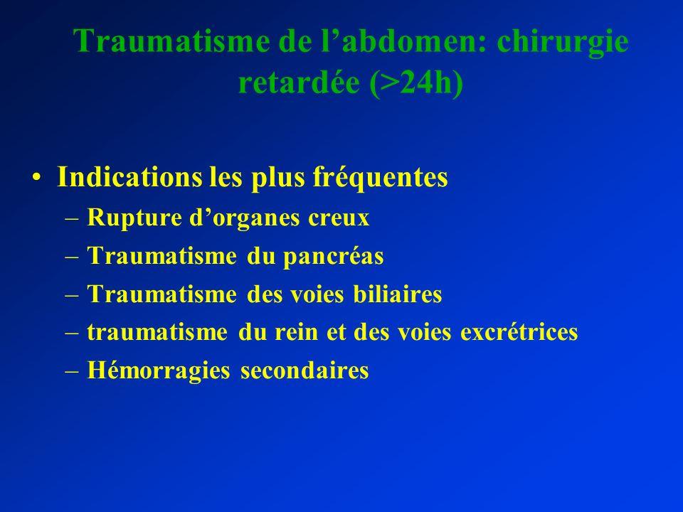 Traumatisme de l'abdomen: chirurgie retardée (>24h)