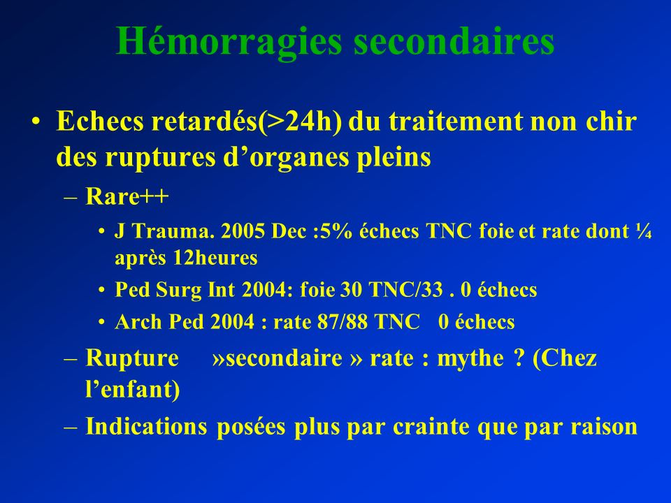 Hémorragies secondaires