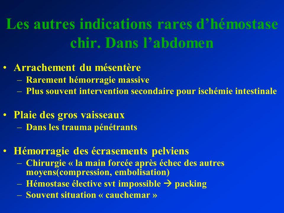 Les autres indications rares d'hémostase chir. Dans l'abdomen